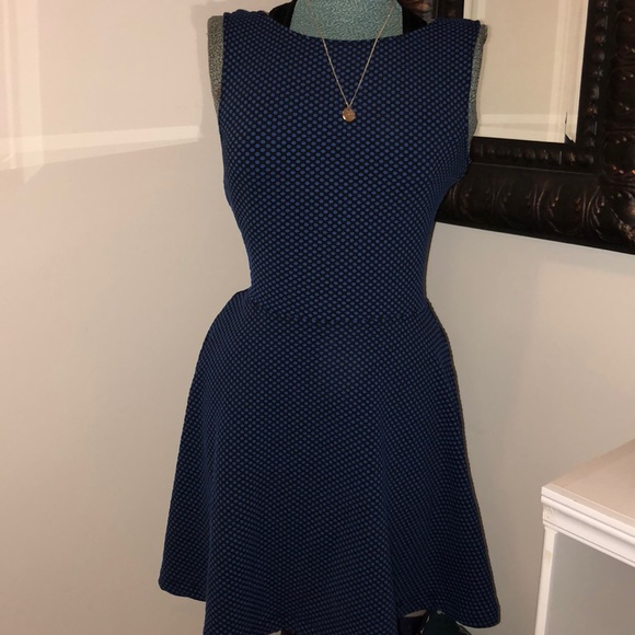 b43fc94162cb Frenchi Dresses | Black Blue Polka Dots M Flare Midi Dress | Poshmark